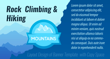 Rock Climbing and Hiking. Vector Layout Design of Banner with copy space, illustration optimized for Web.