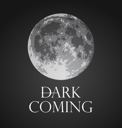 Dark Coming, Vector illustration of Full Moon in dark gothic style.