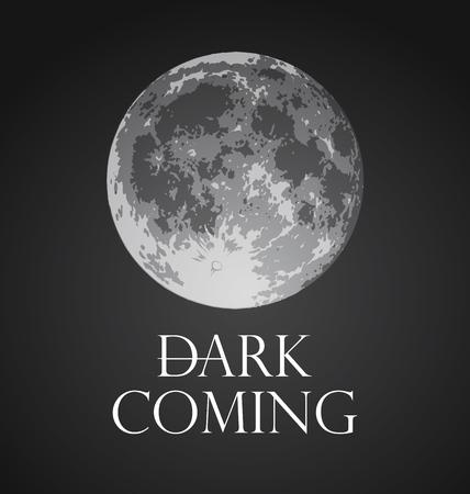 Dark Coming, Vector illustration of Full Moon in dark gothic style.