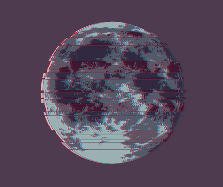 Full Moon, Vector illustration of Dark Moon with Glitch distortion effect.