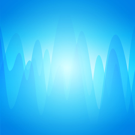 Vector blue abstract background with Waves and Glow. Nice Backdrop with copy space. Çizim