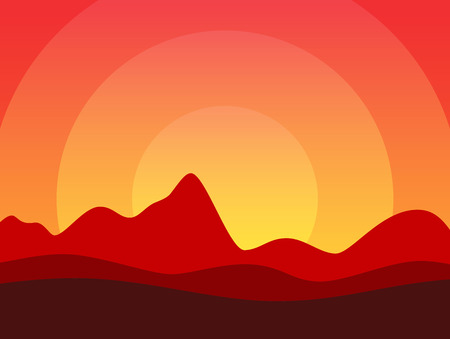 Desert of America or Africa, Vector illustration with copy space at top of image in EPS10. Beautiful Horizontal Landscape at Hot Sunset. Çizim