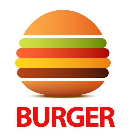 Burger logo or icon for Cafe, Creative vector flat illustration isolated on white background.