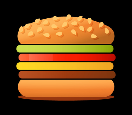 Vector illustration of big tasty Burger isolated on black background. Sandwich image for logo, banner or ads of Cafe.