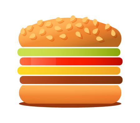 Vector illustration of big tasty Burger isolated on white background. Sandwich image for logo, banner or ads of Cafe.