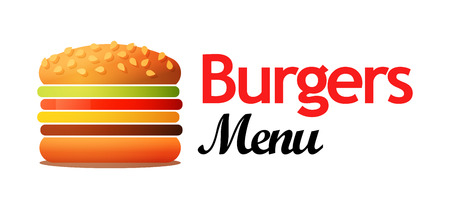 Logotype for Cafe with Burgers and other lunch food. Vector illustration isolated on white background looks good and on a dark background Иллюстрация