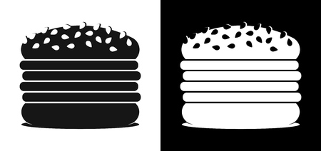 Set of Icons with Burgers on a black and white background. Vector illustration in flat style isolated in EPS10.