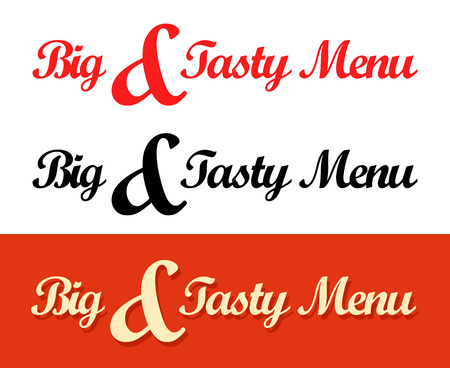 Calligraphy templates of Big and Tasty Menu caption for Cafe or Restaurant. Vector illustration in red and black color in EPS10.