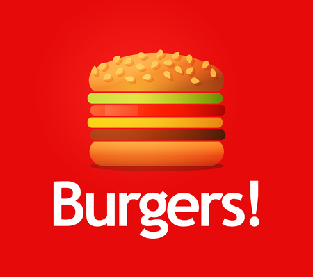 Wonderful Vector Logotype of big tasty Burger isolated on red background. Sandwich image for logo, banner or ads of Cafe.