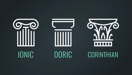 Ionic, Doric and Corinthian icons in lineart style on dark background. Vector set of Greek columns. Иллюстрация
