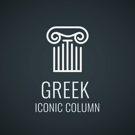 Greek ionic column order. Lineart logo for Architecture company. Design template with style dark and white colors. Vector illustration