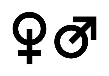 Icons of masculine and feminine, Man and Woman gender. Set of style black Signs isolated on white. Vector illustration Çizim