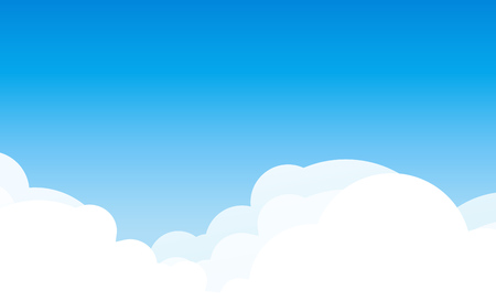 Background with cloudscape at sunny day. Blue sky with copy space area. Vector illustration in EPS10. Çizim