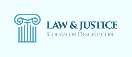 Ionic order column. Emblem in blue colors for Law and Legal business. Vector Logo with caption Law and Justice and place for Slogan or description.
