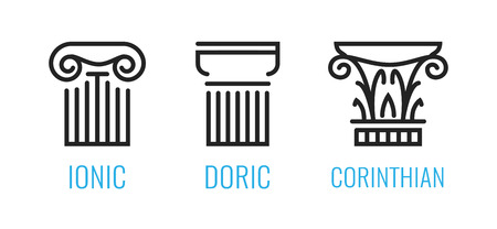 Ionic orders of ancient Greece. Ionic, Dorian, Corintian column lineart shapes isolated on white background. Vector icons for Architecture and Law business.