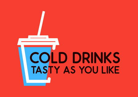 Cold Drinks, Tasty as you Like. Vector with Cup with Soda on red background.