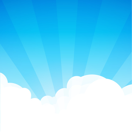 Background with cloudscape at sunny day. Cartoon landscape wallpaper with Sunshine. Blue sky with copy space area. Vector illustration in EPS10.