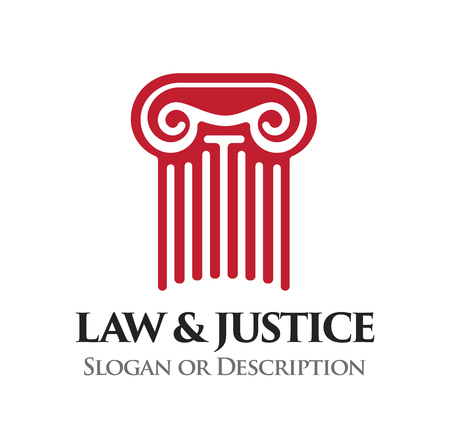 Ionic order column. Emblem for Law and Legal business. Vector Logo with caption Law and Justice and place for Slogan or description. Illustration