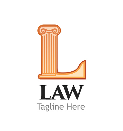 Logotype for Juridical or Law firm or business isolated on white background. Letter L in for of Ionic Order means Court. Vector illustration.