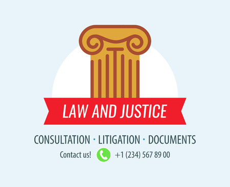 Law and Justice. Banner with ionic column symbolized Law and Court. Design for Legal Business. Vector emblem for cards. Illustration
