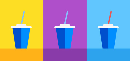 Icon of Blue plastic cup with Ice Tea on Yellow, violet and blue background. Vector illustration for decoration of Cafe menu or Web site.