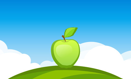 Banner template with Apple Fruit in Garden - Symbol of juicy Fruit under blue sky. Colorful vector illustration