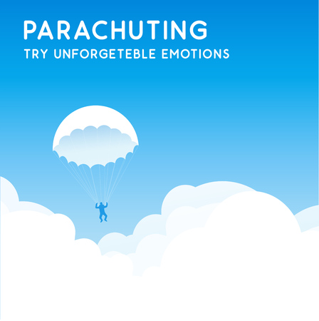 Parachuting, Try Unforgettable Emotions. Banner with blue sky at clear sunny day. Vector illustration in EPS10.
