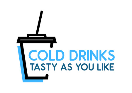 Cold Drinks, Tasty as you Like. Vector Logo with Cup with Soda on white background.