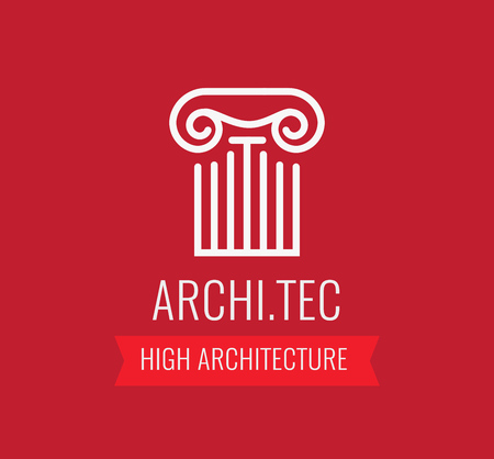 Beautiful Logotype for architecture company in red color. Vector illustration. Style lineart sign with caption. Çizim