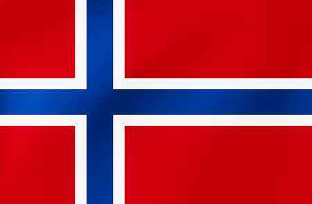 Wavy flag of Norway for site, sports, travel, state events - Vector illustration