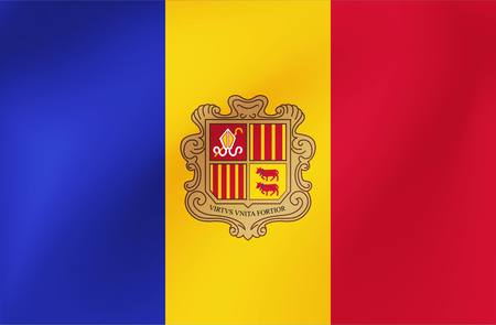 Vector national flag of Andorra. Beautiful illustration with wavy texture.