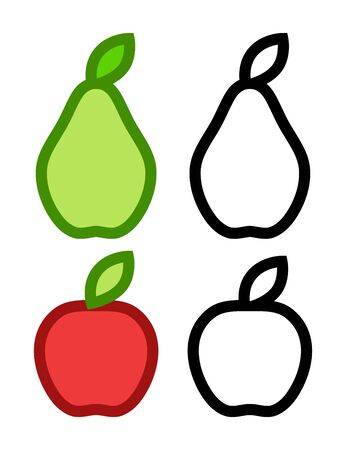Colorful icons of Pear and Apple and their Contours - Vector line art illustrations on white background isolated.