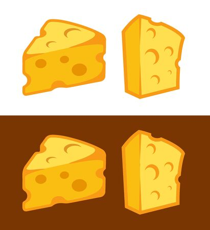 Vector Cheese icon illustration on white and dark brown background. Symbol for logo of shop or web design. Vettoriali