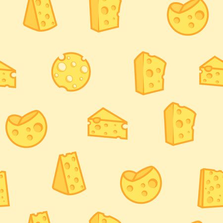Cheese seamless pattern of appetizing milk product. Repeated light yellow texture for shop menu and wrapping paper or web site decoration