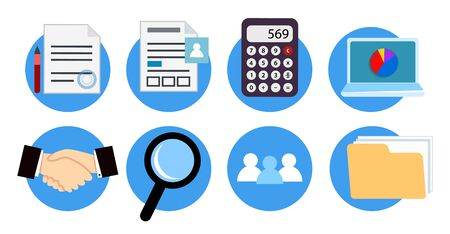 Vector Icons for website design accounting and financial office services.