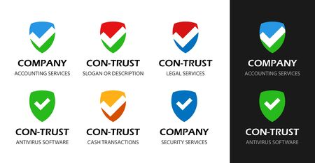 Shield for Antivirus, Legal protection and Law services. Set of vector Logo illustrations on black and white isolated.