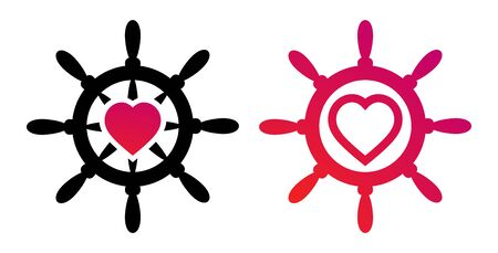 Steering wheel with heart. Creative logo vector illustrations for to celebrate Valentines Day or Honeymoon 矢量图像