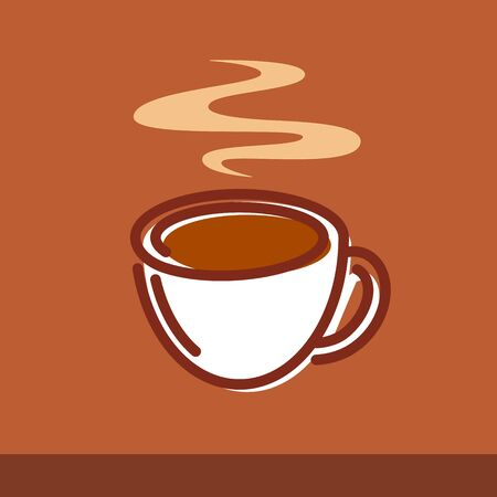 Vector illustration of a cup of coffee on brown background. Emblem for Logotype or decoration of cafe and restaurants menu and other graphic elements.
