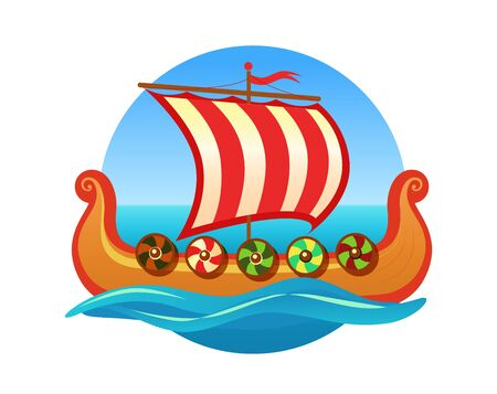 Vector emblem for Travel Agency in Scandinavia. Logo with Medieval Scandinavian longboat Drakkar. Excursions on the sea.