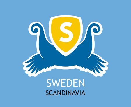 Badge, vector element design for Swedish travel company in colors of national flag. Logotype with vikings symbolic on the Coat of Arms. Иллюстрация