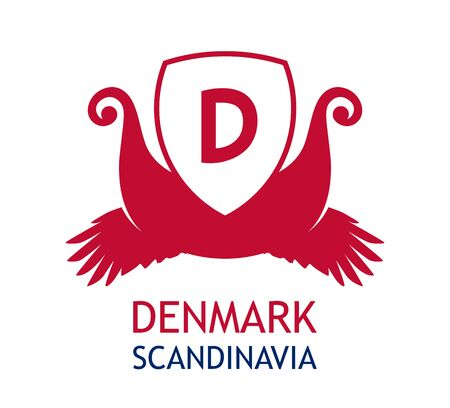 Coat of arms for Danish business company, Logo for travel agency in Denmark - Vector illustration.