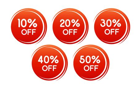Vector round discount label for sales with different percents. Set of Red Sale stickers. Well separated from the background. Background can be changed. Illusztráció