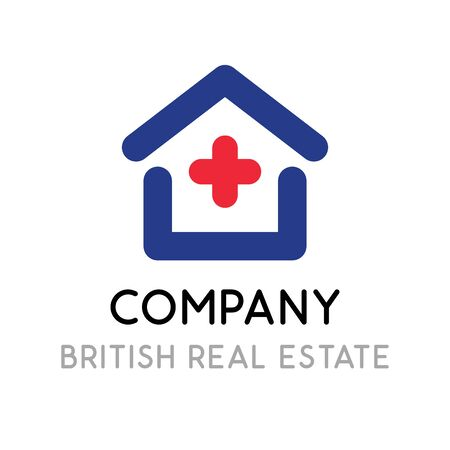 Logotype template for British Real Estate company in UK. Vector illustration with house in color of national flag of United Kingdom. Stylish Concept. Illusztráció