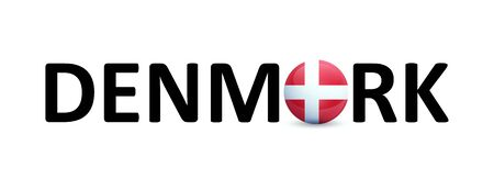 Denmark - vector Sign with a round flag in the text. Emblem for Travel agency, Danish language lessons or Political news in magazines.