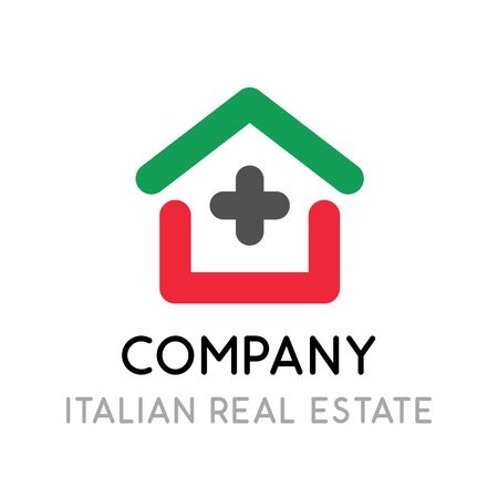 Logo for real estate company in Italy. Creative emblem illustration with house in line art style in color of Italian national flag.