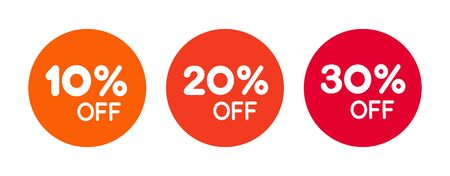 Set of Sale and Discount labels round shape isolated. Vector illustrations of stickers for web site and product market.