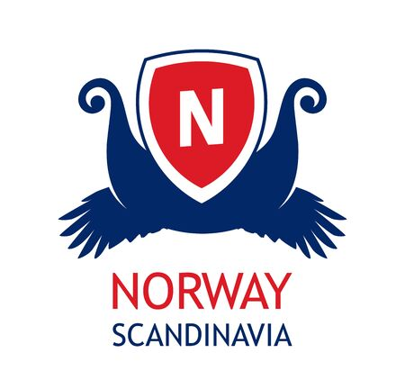 Logo for travel company organizing sea cruises in Scandinavia and Norway. Emblem in color of Norvegian national flag.