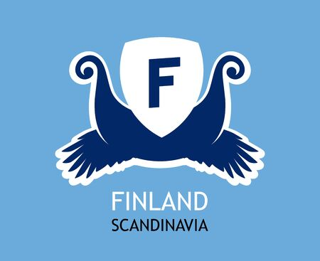 The Logo for travel company in Finland with symbolism of the Vikings and colors of the Finnish national flag. Vector illustration in blue color isolated.
