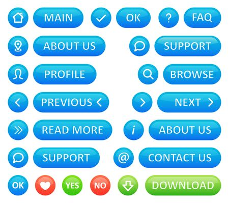 A set of buttons for a web blog. Vector icons in blue color round shapes and buttons on a white background. Web design for business site menu. Illusztráció