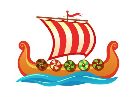 Drakkar - Scandinavian longship of Vikings. Vector colorful Cartoon icon illustration for Travel tour agency and decoration of history event. Illusztráció